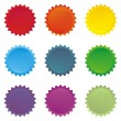 Colorful star shaped shiny button set - Stock Vector