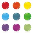 Stock Vector: Colorful round shiny button set