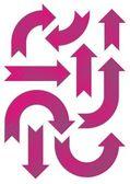 Shiny pink patterned arrow set — Stock Vector