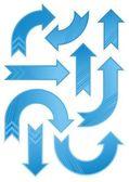 Shiny blue patterned arrow set — Stock Vector