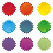 Colorful star shaped shiny button set — Stock Vector