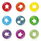 Arrows on colorful star shaped shiny button set — Stock Vector
