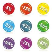Percent discount on colorful star shaped shiny button set — Stock Vector