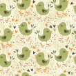 Retro seamless pattern with little birds and hearts in beige,green,white and orange — Stock Vector #13966613