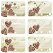 Christmas heart shaped gingerbreads gift label set — Stock Vector