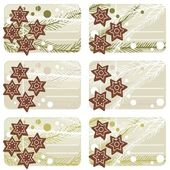 Christmas star shaped gingerbreads gift label set — Stock Vector