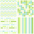 Stock Vector: Set of seamless retro geometric paper patterns in green turquoise white and beige dots lines and chevron