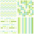 Set of seamless retro geometric paper patterns in green turquoise white and beige dots lines and chevron — Stock Vector