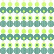 Stock Vector: Green turquoise beige circles and dots in rows on white background