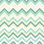 Seamless retro geometric chevron pattern in beige white and turquoise — Stock Vector