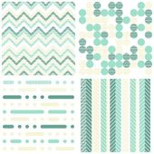 Set of seamless retro geometric paper patterns in turquoise white and beige dots lines and chevron — Stock Vector