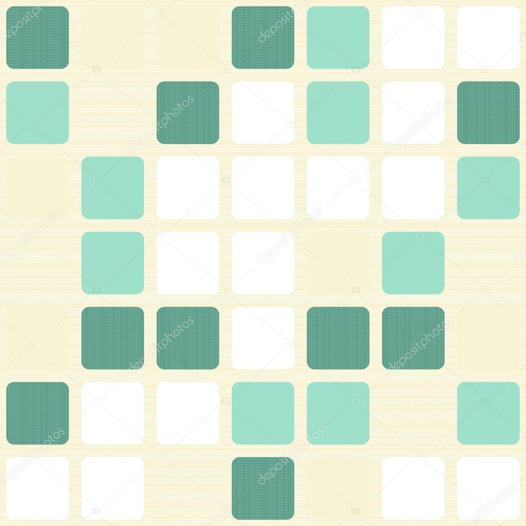 Azulejos cuadrados turquesas en patrones sin fisuras retro - Color beige claro ...