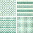 Stock Vector: Set of seamless dotted retro geometric paper patterns in turquoise white and beige dots lines and chevron