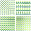 Set of seamless dotted retro geometric paper patterns in turquoise green and beige dots lines and chevron — Stock Vector