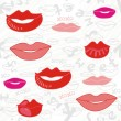Sweet lips pink red gray seamless pattern on white scratched background — Stock Vector