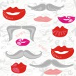 Lips and moustaches pink red gray seamless pattern on white scratched background — Stock Vector