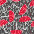 Stock Vector: Delicate rain drops hearts and red umbrellas on dark background seamless pattern