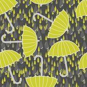 Gri ve yeşil desen yeşil şemsiye ile koyu arka plan üzerinde hassas yağmur damlaları — Stok Vektör