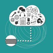Cloud system social media internet computer technology illustration — Stock Vector