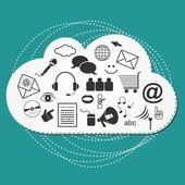 Big cloud - cloud system social media internet computer technology illustration — Stock Vector