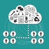 我々 はソーシャル メディア インターネット コンピューター技術図システム — ストックベクタ