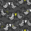 Green gray lovely abstract seamless pattern with kissing birds on dark background — Vettoriali Stock