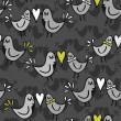 Green gray lovely abstract seamless pattern with kissing birds on dark background — Stok Vektör
