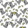 Green gray lovely abstract seamless pattern with kissing birds on white background — Stock Vector