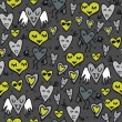 Green gray lovely abstract seamless pattern with funny hearts on dark background — Imagens vectoriais em stock