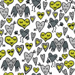 Green gray lovely abstract seamless pattern with funny hearts on white background - Stock Vector