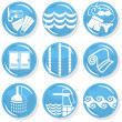Spa shiny blue monochrome button set swimming activity - Stock Vector