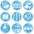 Spa shiny blue monochrome button set swimming activity — Imagen vectorial