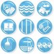 Spa shiny blue monochrome button set swimming activity — Stock Vector