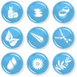 Spa shiny blue monochrome button set smell elements — Stock Vector