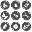 Stock Vector: Spa flat gray monochrome button set smell elements