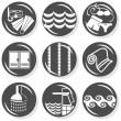 Stock Vector: Spa flat gray monochrome button set swimming activity