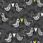 Green gray lovely abstract seamless pattern with kissing birds on dark background — Stock Vector