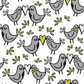 Green gray lovely abstract seamless pattern with kissing birds on white background — Cтоковый вектор