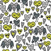 Green gray lovely abstract seamless pattern with funny hearts on white background — Stock vektor