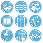 Spa lucido blu monocromatico pulsante impostare attività di nuoto — Vettoriale Stock