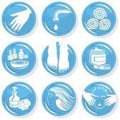 Spa shiny blue monochrome button set manicure pedicure hair treatment — Stock Vector