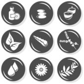 Spa flat gray monochrome button set smell elements — Stock Vector