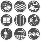 Spa flat gray monochrome button set swimming activity — Stock Vector