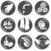 Spa flat gray monochrome button set manicure pedicure hair treatment — Stock Vector