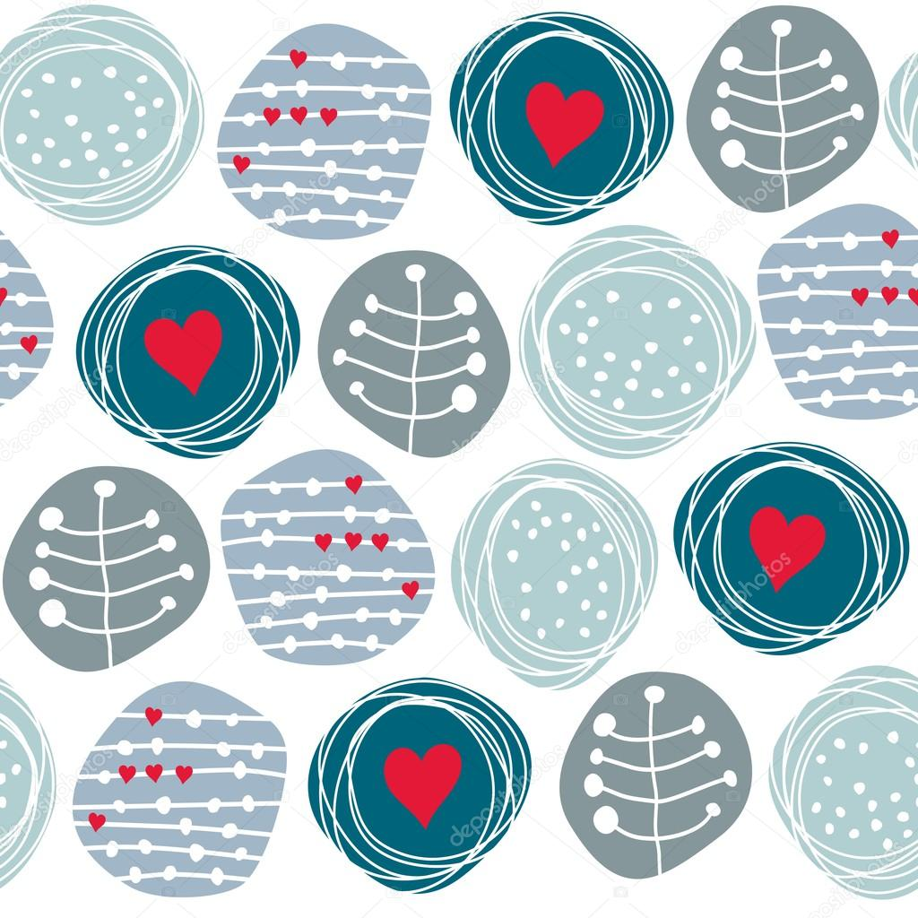 Delicate floral blue retro pattern with red hearts on circles on white