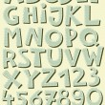 Retro blue sewed alphabet on beige — Stock Vector #15772869
