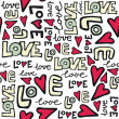 love retro colors graffiti seamless pattern on white — Stock Vector