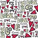Love retro colors graffiti seamless pattern on white — Stock Vector #15773565
