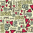 love retro colors graffiti seamless pattern on beige — Stock Vector