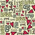 Love retro colors graffiti seamless pattern on beige — Stock Vector #15773635